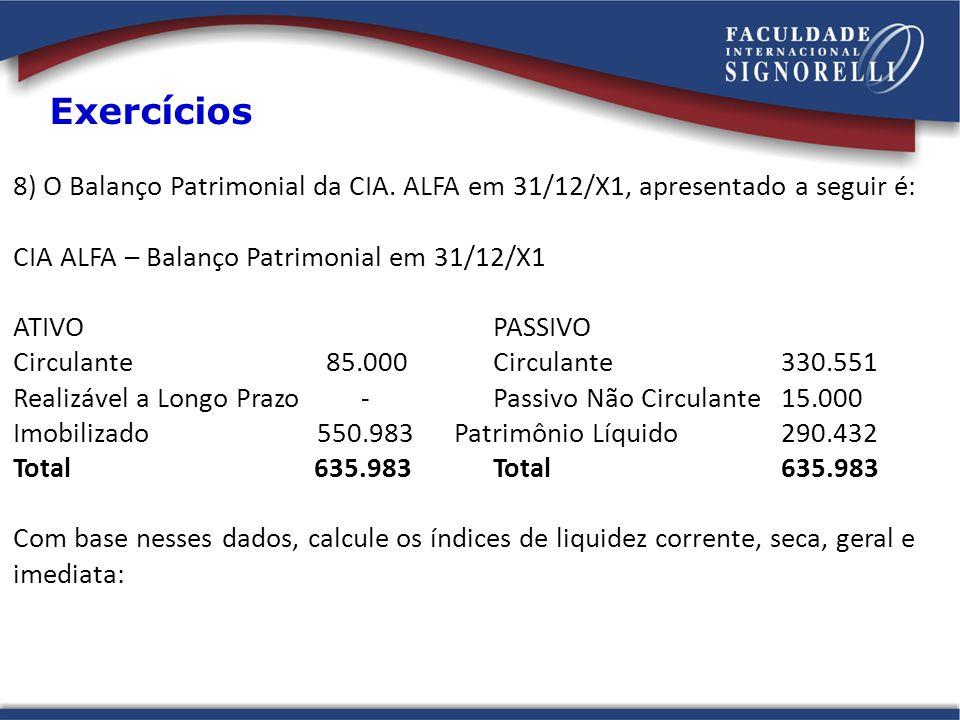 8) O Balanço Patrimonial da CIA. ALFA em 31/12/X1, apresentado a seguir é: CIA ALFA – Balanço Patrimonial em 31/12/X1 ATIVO PASSIVO Circulante 85.000