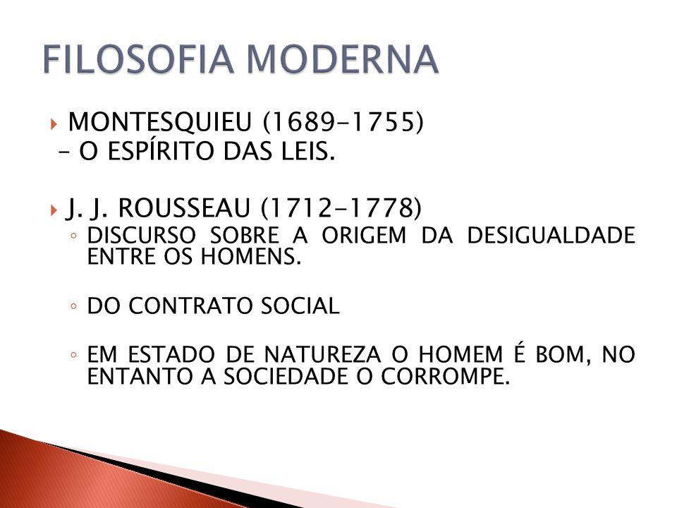 MONTESQUIEU (1689-1755) – O ESPÍRITO DAS LEIS. J. J. ROUSSEAU (1712-1778) DISCURSO SOBRE A ORIGEM DA DESIGUALDADE ENTRE OS HOMENS. DO CONTRATO SOCIAL