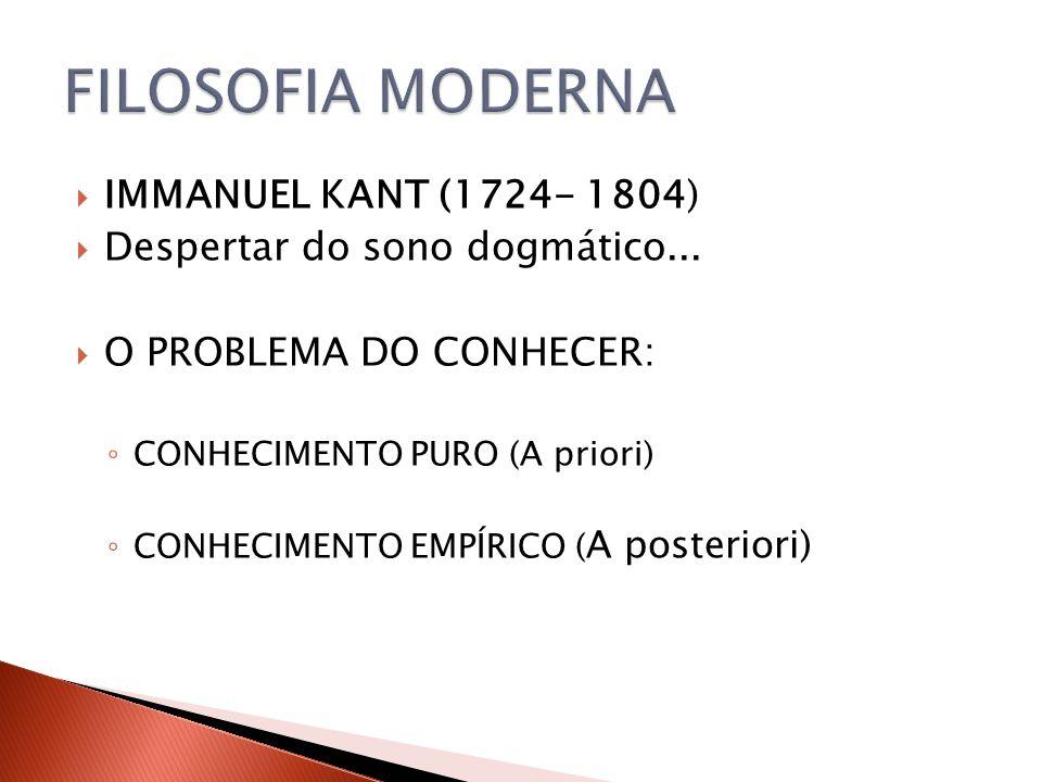 IMMANUEL KANT (1724- 1804) Despertar do sono dogmático... O PROBLEMA DO CONHECER: CONHECIMENTO PURO (A priori) CONHECIMENTO EMPÍRICO ( A posteriori)