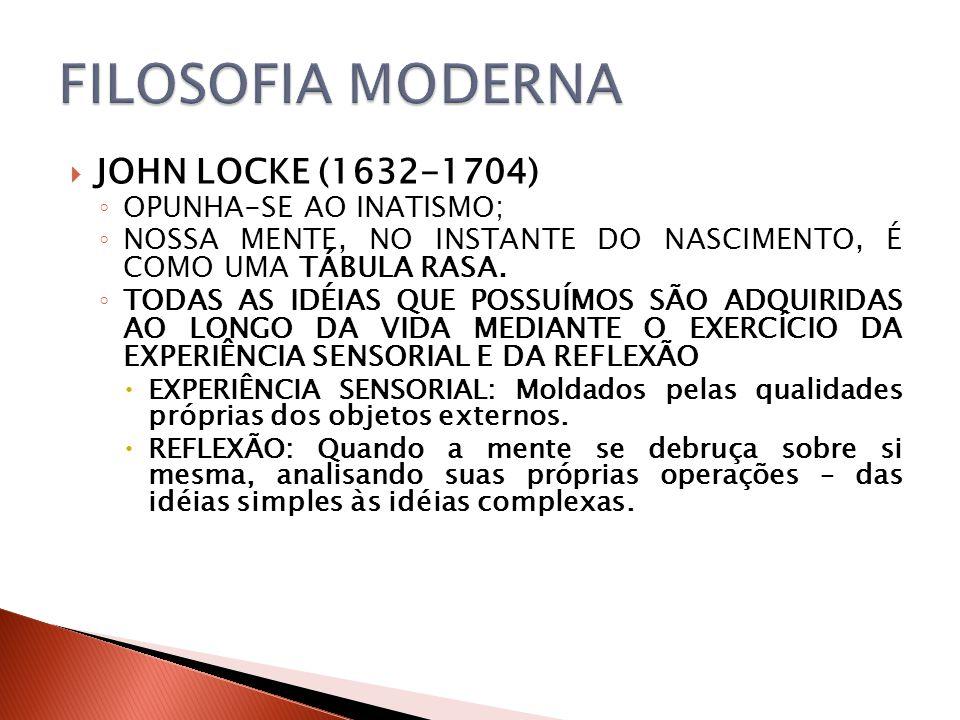 JOHN LOCKE (1632-1704) OPUNHA-SE AO INATISMO; NOSSA MENTE, NO INSTANTE DO NASCIMENTO, É COMO UMA TÁBULA RASA. TODAS AS IDÉIAS QUE POSSUÍMOS SÃO ADQUIR