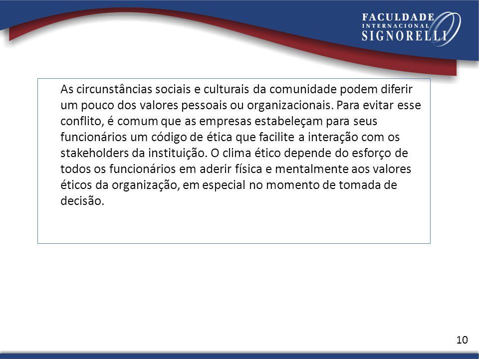As circunstâncias sociais e culturais da comunidade podem diferir um pouco dos valores pessoais ou organizacionais.