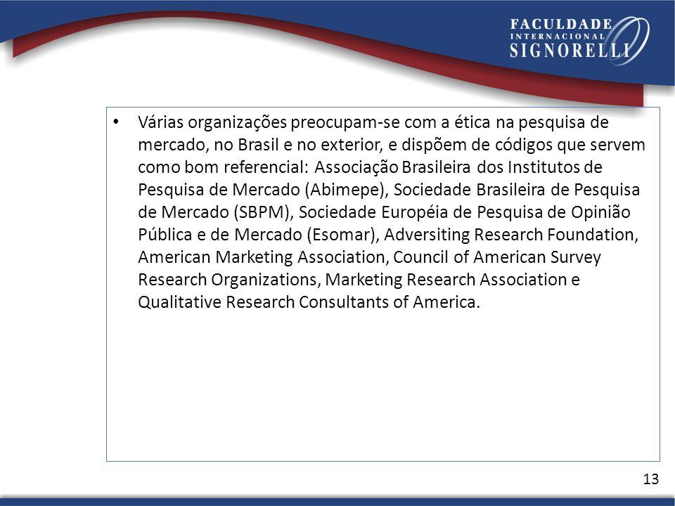 Várias organizações preocupam-se com a ética na pesquisa de mercado, no Brasil e no exterior, e dispõem de códigos que servem como bom referencial: As