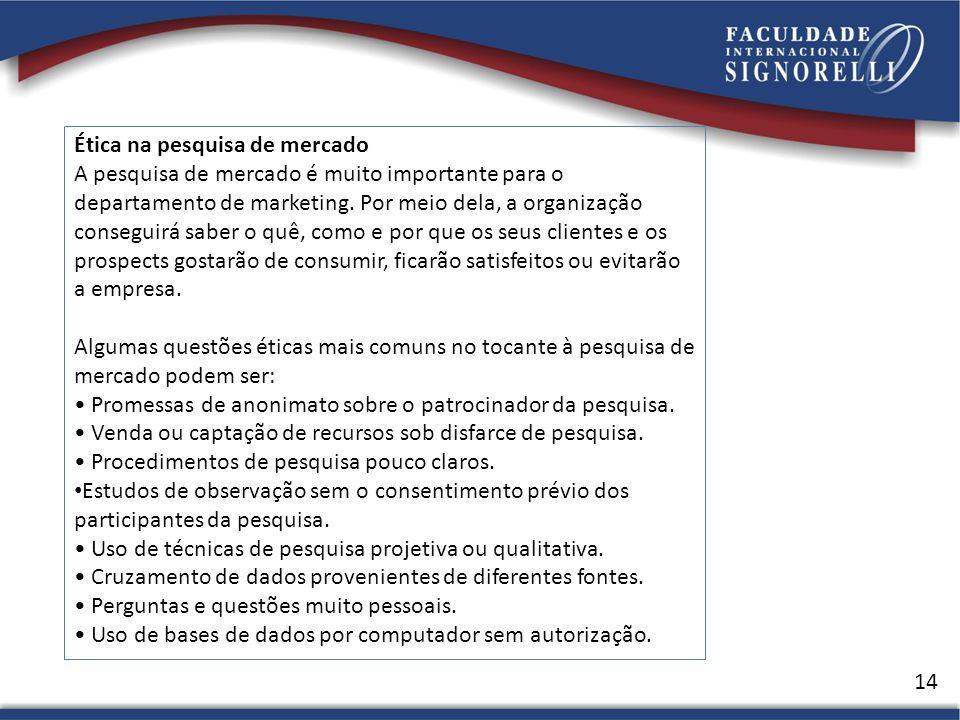 14 Ética na pesquisa de mercado A pesquisa de mercado é muito importante para o departamento de marketing.