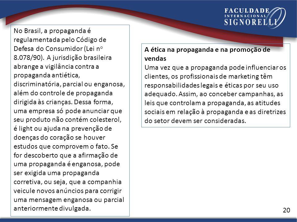 20 A ética na propaganda e na promoção de vendas Uma vez que a propaganda pode influenciar os clientes, os profissionais de marketing têm responsabilidades legais e éticas por seu uso adequado.