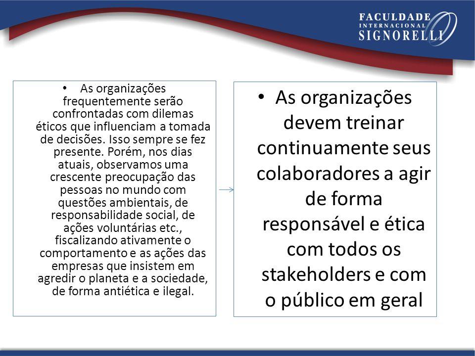 As organizações frequentemente serão confrontadas com dilemas éticos que influenciam a tomada de decisões.
