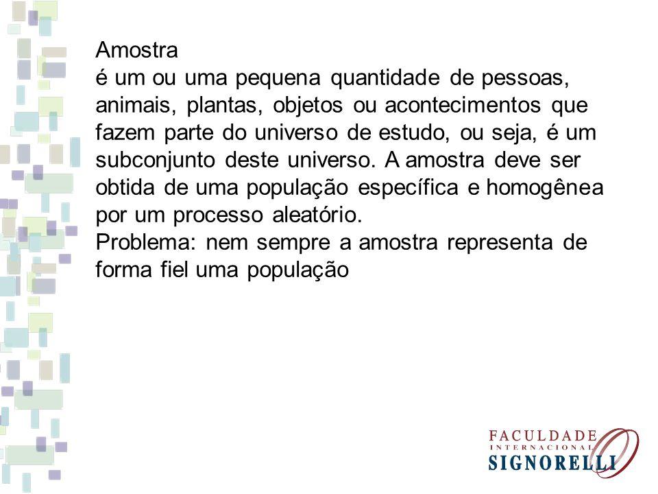 Amostra é um ou uma pequena quantidade de pessoas, animais, plantas, objetos ou acontecimentos que fazem parte do universo de estudo, ou seja, é um subconjunto deste universo.