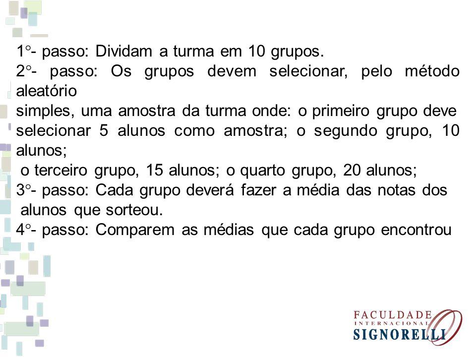 1°- passo: Dividam a turma em 10 grupos.