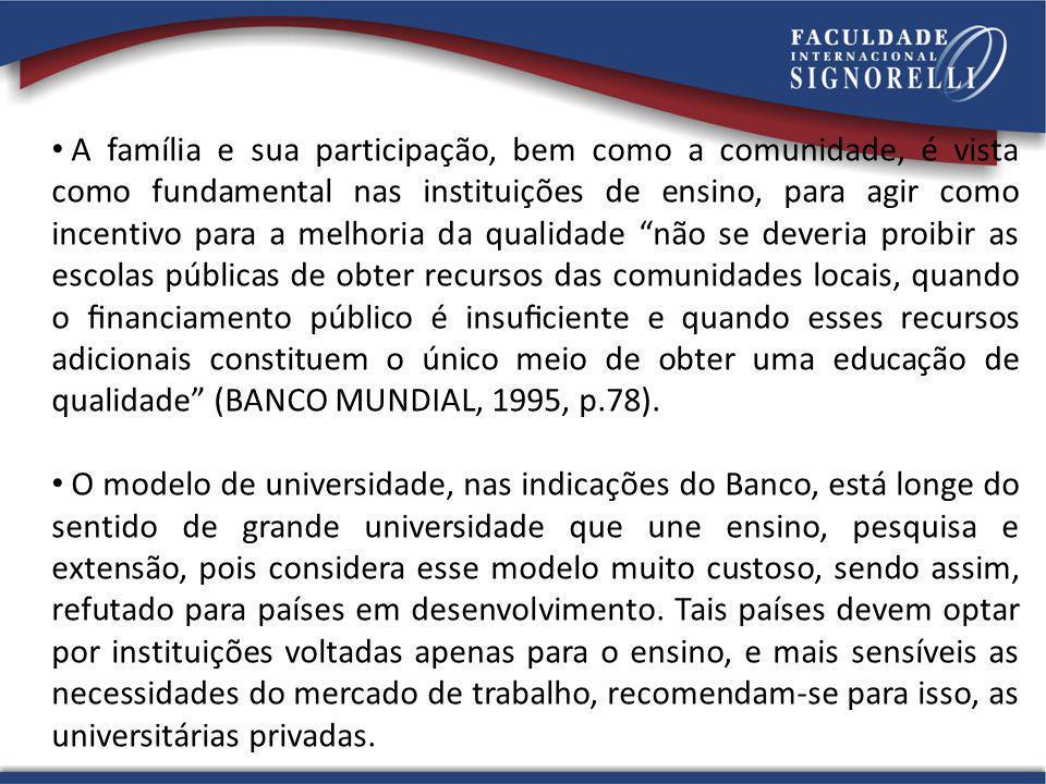 A família e sua participação, bem como a comunidade, é vista como fundamental nas instituições de ensino, para agir como incentivo para a melhoria da