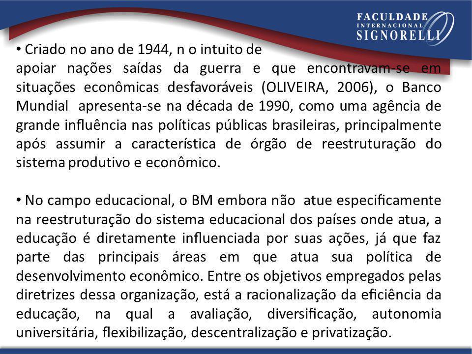Criado no ano de 1944, n o intuito de apoiar nações saídas da guerra e que encontravam-se em situações econômicas desfavoráveis (OLIVEIRA, 2006), o Ba