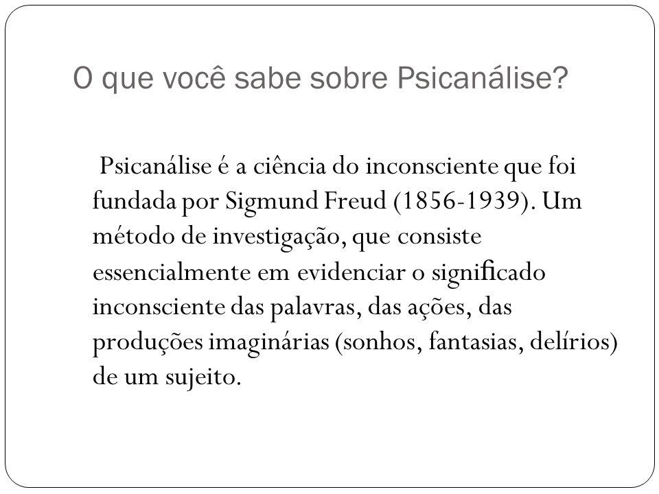 O que você sabe sobre Psicanálise? Psicanálise é a ciência do inconsciente que foi fundada por Sigmund Freud (1856-1939). Um método de investigação, q