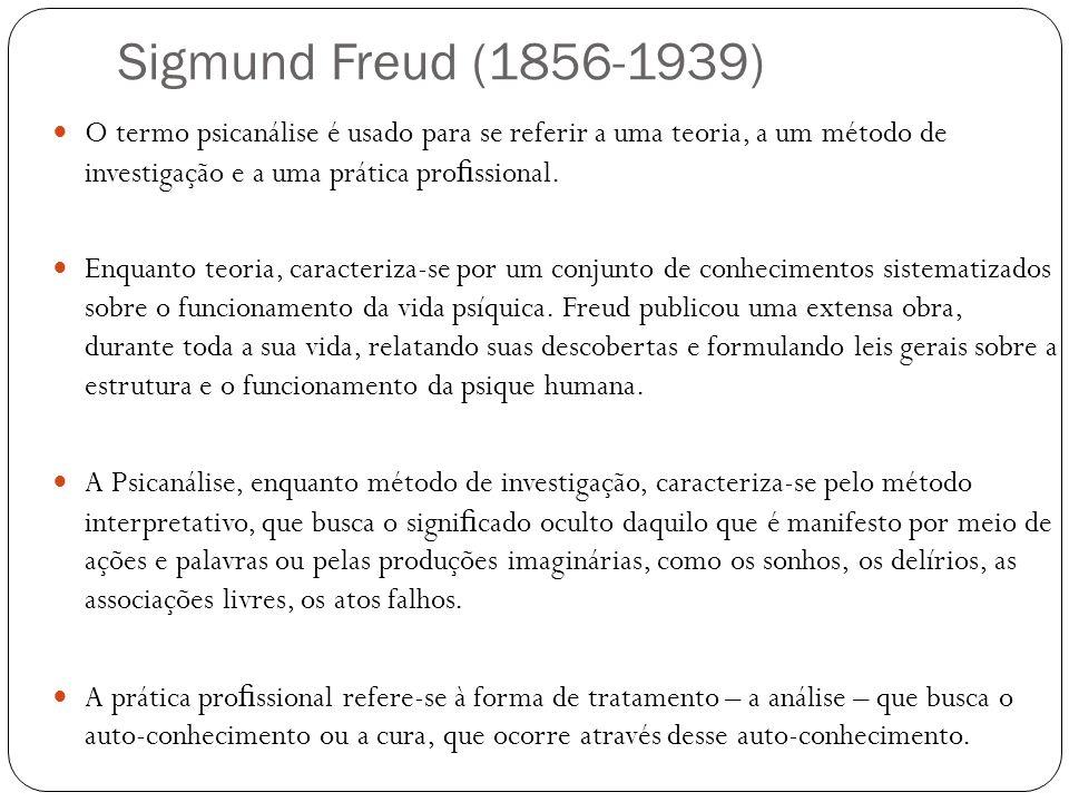 Sigmund Freud (1856-1939) O termo psicanálise é usado para se referir a uma teoria, a um método de investigação e a uma prática pro ssional. Enquanto