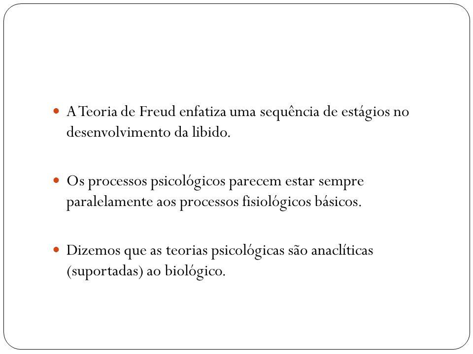 A Teoria de Freud enfatiza uma sequência de estágios no desenvolvimento da libido. Os processos psicológicos parecem estar sempre paralelamente aos pr