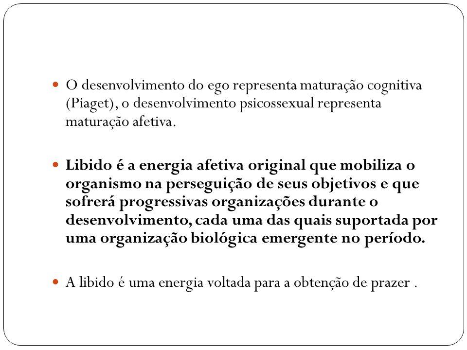 O desenvolvimento do ego representa maturação cognitiva (Piaget), o desenvolvimento psicossexual representa maturação afetiva. Libido é a energia afet