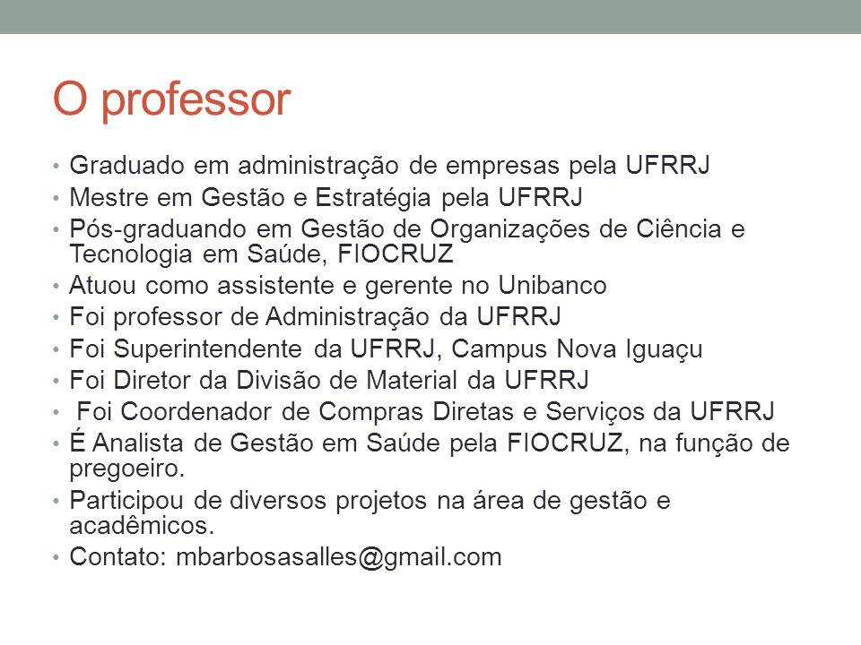 O professor Graduado em administração de empresas pela UFRRJ Mestre em Gestão e Estratégia pela UFRRJ Pós-graduando em Gestão de Organizações de Ciênc