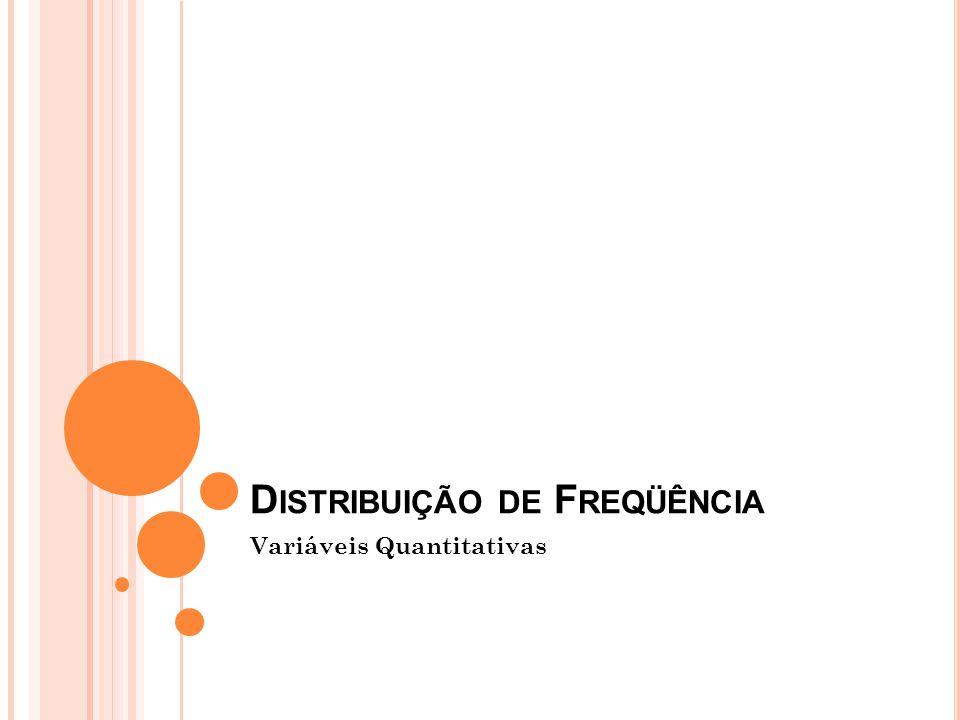 D ISTRIBUIÇÃO DE F REQÜÊNCIA Variáveis Quantitativas