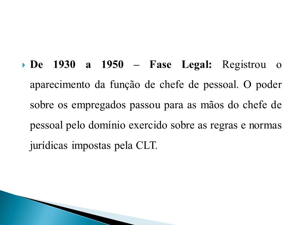 De 1930 a 1950 – Fase Legal: Registrou o aparecimento da função de chefe de pessoal. O poder sobre os empregados passou para as mãos do chefe de pesso