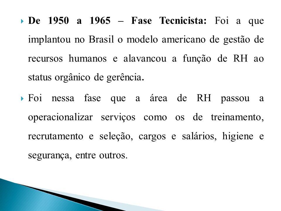 De 1950 a 1965 – Fase Tecnicista: Foi a que implantou no Brasil o modelo americano de gestão de recursos humanos e alavancou a função de RH ao status
