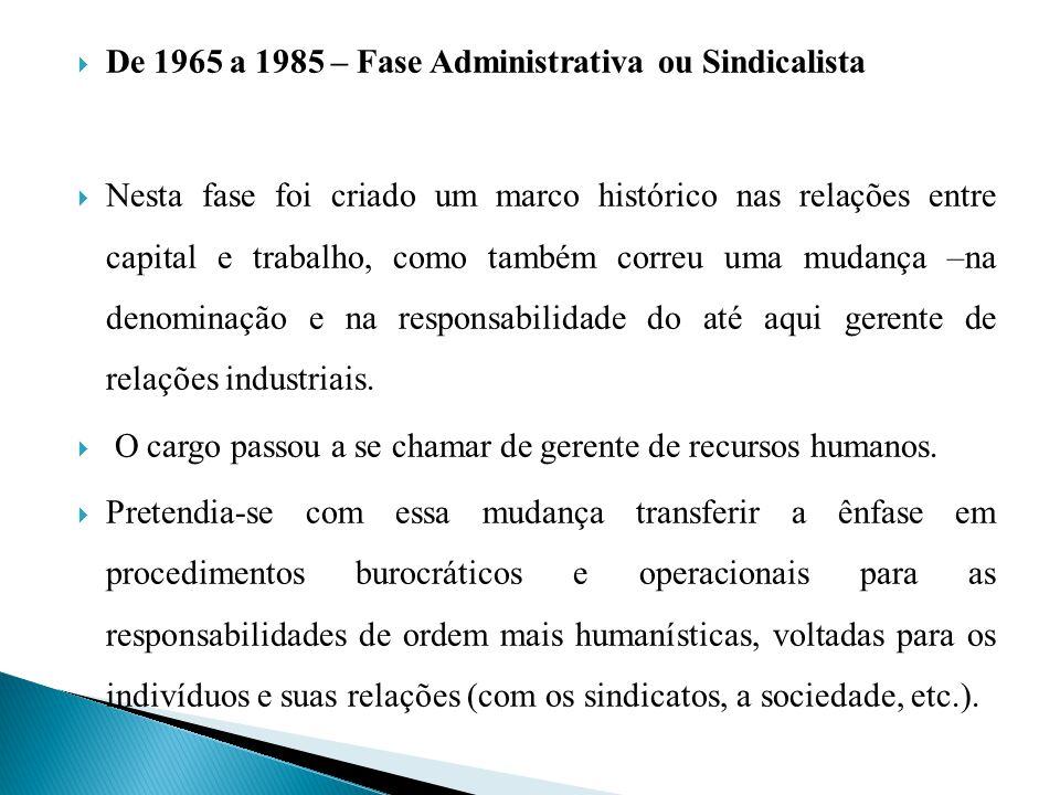 De 1965 a 1985 – Fase Administrativa ou Sindicalista Nesta fase foi criado um marco histórico nas relações entre capital e trabalho, como também corre