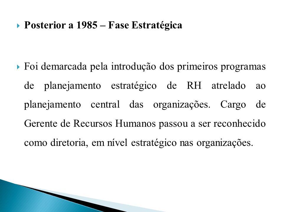 Posterior a 1985 – Fase Estratégica Foi demarcada pela introdução dos primeiros programas de planejamento estratégico de RH atrelado ao planejamento c