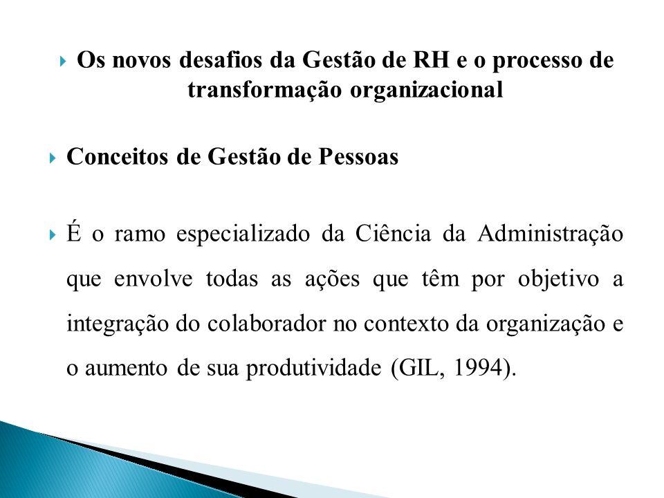 Os novos desafios da Gestão de RH e o processo de transformação organizacional Conceitos de Gestão de Pessoas É o ramo especializado da Ciência da Adm