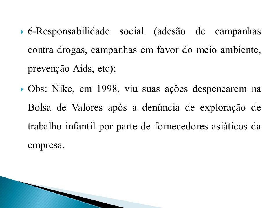 6-Responsabilidade social (adesão de campanhas contra drogas, campanhas em favor do meio ambiente, prevenção Aids, etc); Obs: Nike, em 1998, viu suas