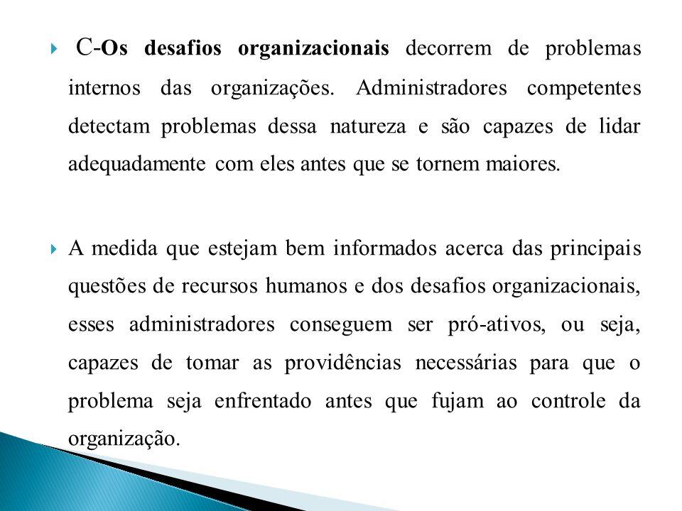 C- Os desafios organizacionais decorrem de problemas internos das organizações. Administradores competentes detectam problemas dessa natureza e são ca