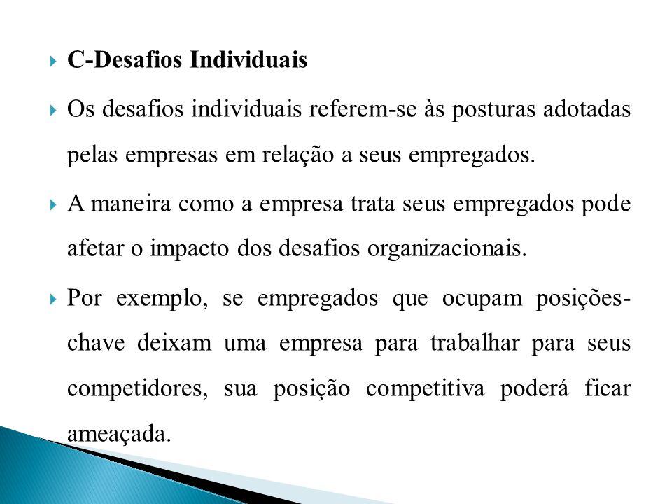 C-Desafios Individuais Os desafios individuais referem-se às posturas adotadas pelas empresas em relação a seus empregados. A maneira como a empresa t