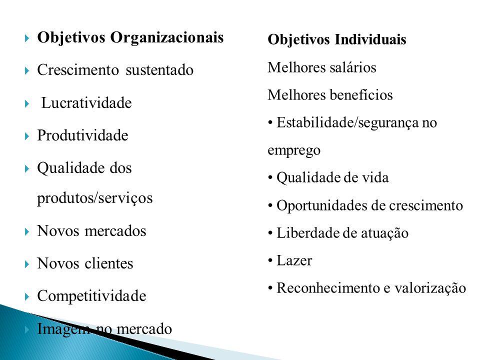 Objetivos Organizacionais Crescimento sustentado Lucratividade Produtividade Qualidade dos produtos/serviços Novos mercados Novos clientes Competitivi