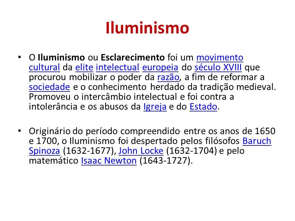 Iluminismo O Iluminismo ou Esclarecimento foi um movimento cultural da elite intelectual europeia do século XVIII que procurou mobilizar o poder da ra