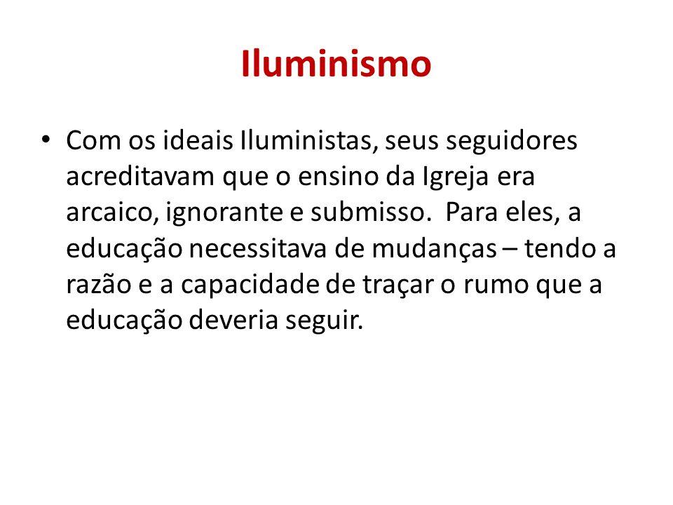 Iluminismo Com os ideais Iluministas, seus seguidores acreditavam que o ensino da Igreja era arcaico, ignorante e submisso. Para eles, a educação nece