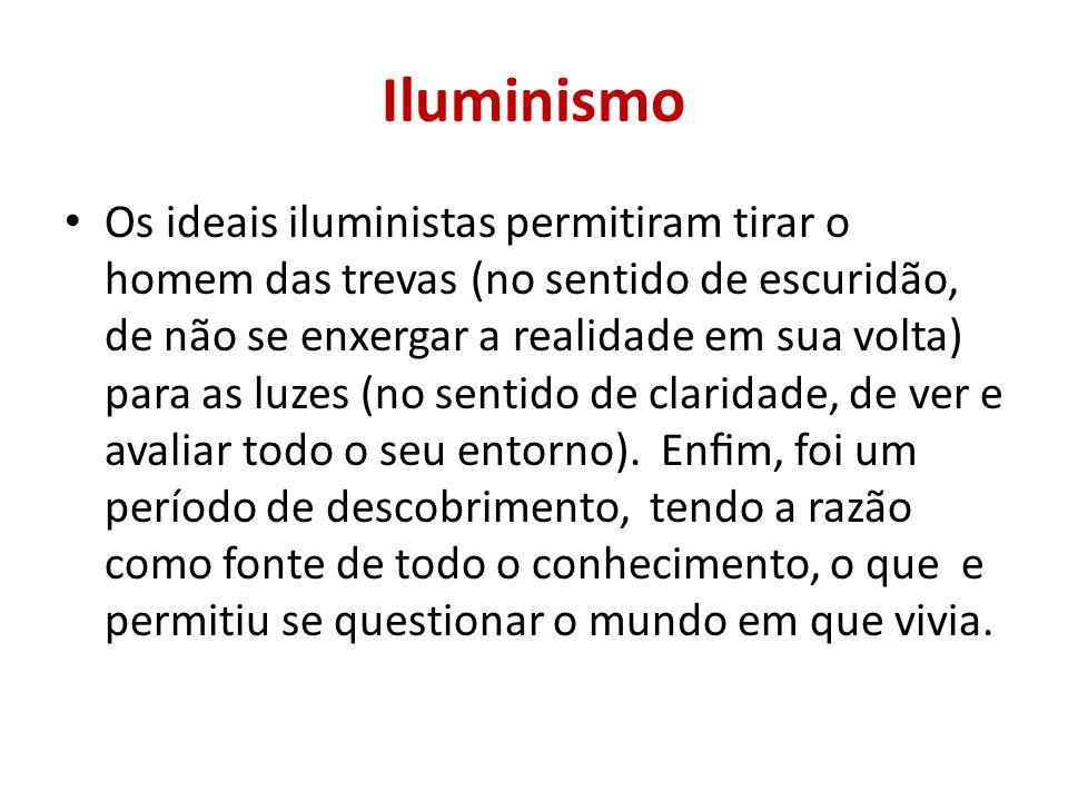 Iluminismo Os ideais iluministas permitiram tirar o homem das trevas (no sentido de escuridão, de não se enxergar a realidade em sua volta) para as luzes (no sentido de claridade, de ver e avaliar todo o seu entorno).