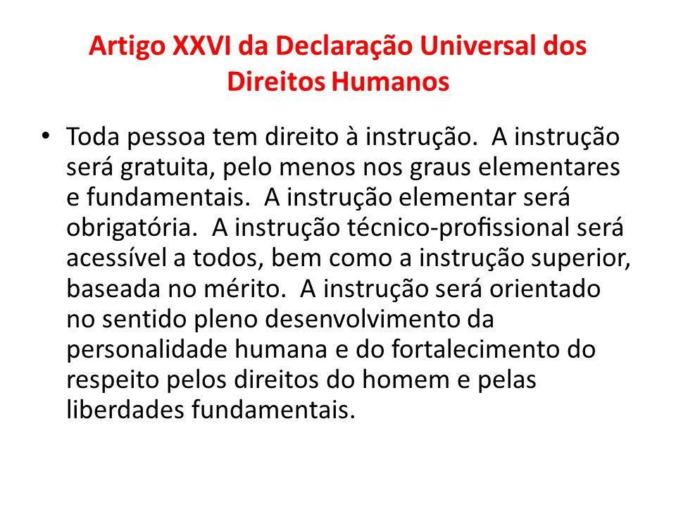 Artigo XXVI da Declaração Universal dos Direitos Humanos Toda pessoa tem direito à instrução. A instrução será gratuita, pelo menos nos graus elementa