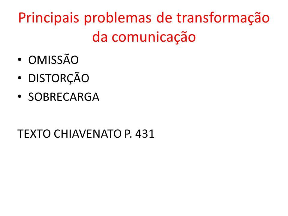 Principais problemas de transformação da comunicação OMISSÃO DISTORÇÃO SOBRECARGA TEXTO CHIAVENATO P. 431