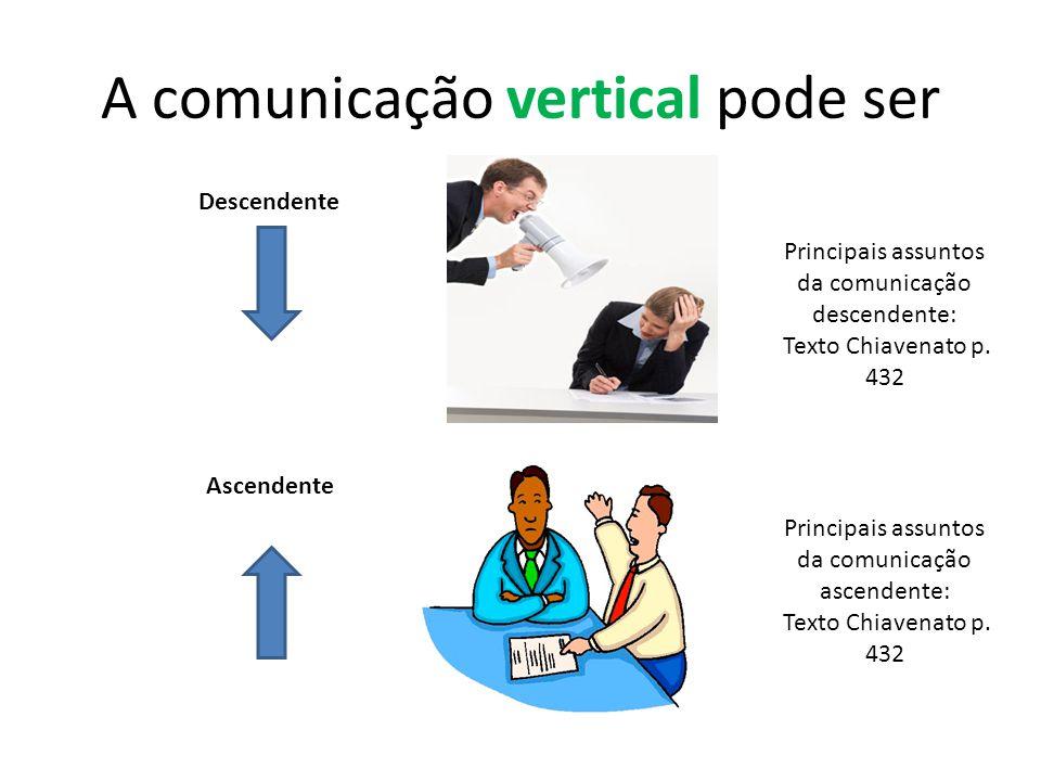A comunicação vertical pode ser Descendente Ascendente Principais assuntos da comunicação descendente: Texto Chiavenato p. 432 Principais assuntos da