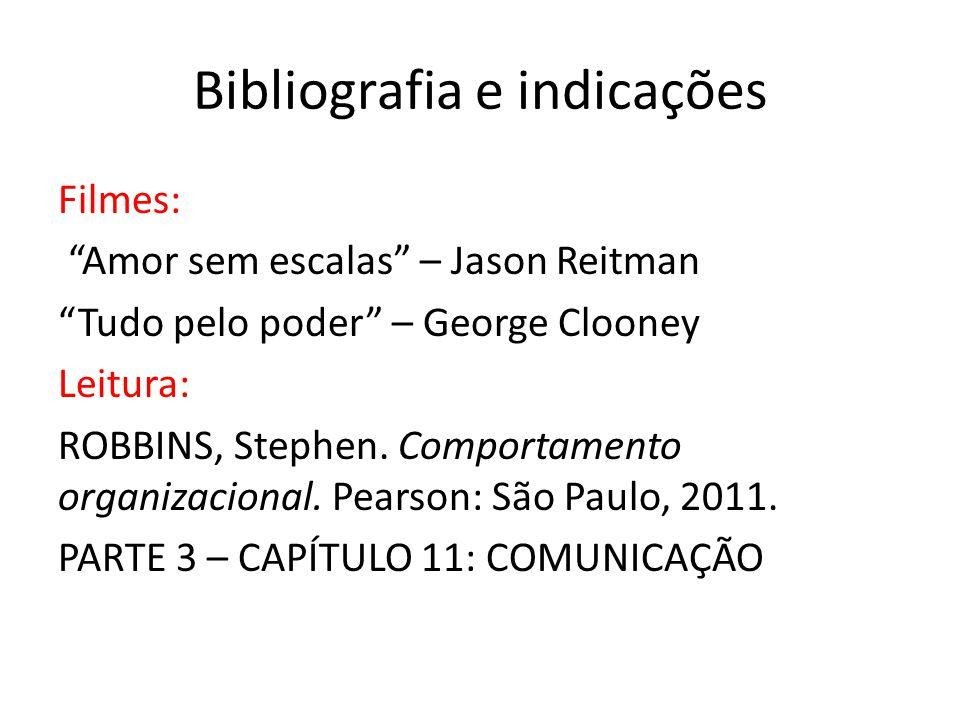 Bibliografia e indicações Filmes: Amor sem escalas – Jason Reitman Tudo pelo poder – George Clooney Leitura: ROBBINS, Stephen. Comportamento organizac