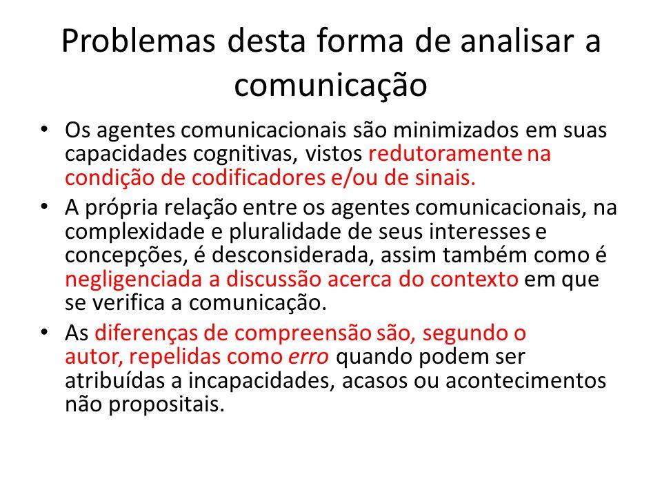 Problemas desta forma de analisar a comunicação Os agentes comunicacionais são minimizados em suas capacidades cognitivas, vistos redutoramente na con