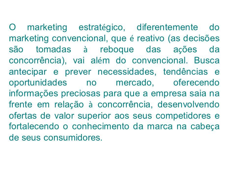 O marketing estrat é gico, diferentemente do marketing convencional, que é reativo (as decisões são tomadas à reboque das a ç ões da concorrência), va