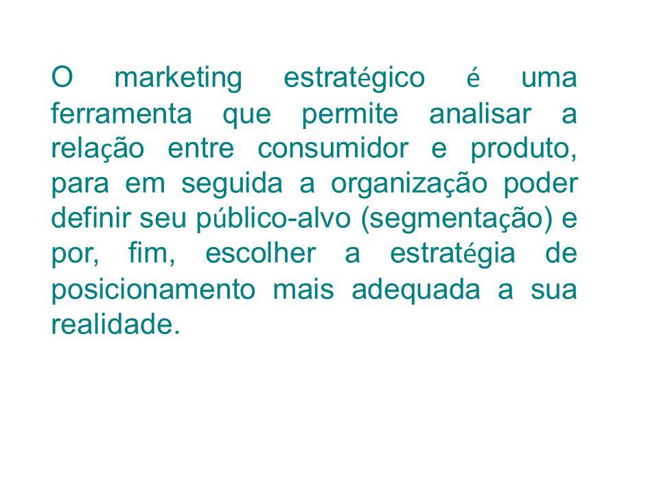 O marketing estrat é gico é uma ferramenta que permite analisar a rela ç ão entre consumidor e produto, para em seguida a organiza ç ão poder definir