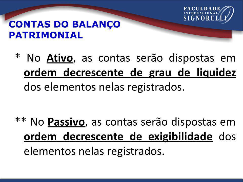 CONTAS DO BALANÇO PATRIMONIAL * No Ativo, as contas serão dispostas em ordem decrescente de grau de liquidez dos elementos nelas registrados. ** No Pa