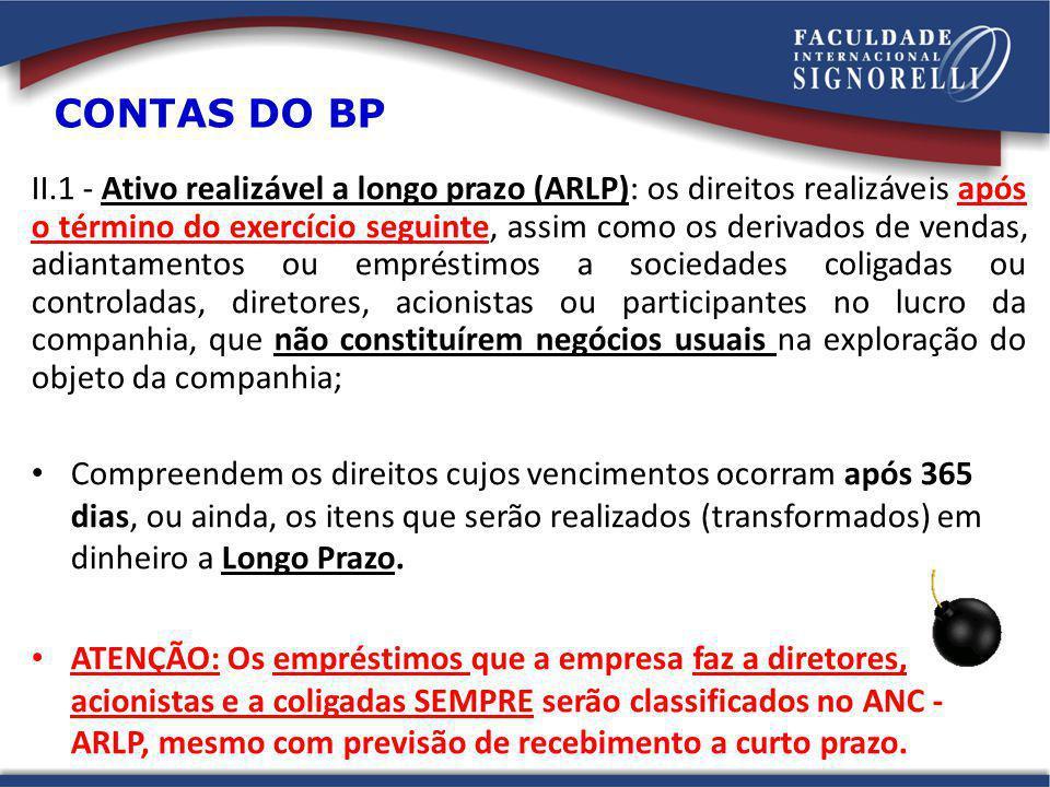 II.1 - Ativo realizável a longo prazo (ARLP): os direitos realizáveis após o término do exercício seguinte, assim como os derivados de vendas, adianta