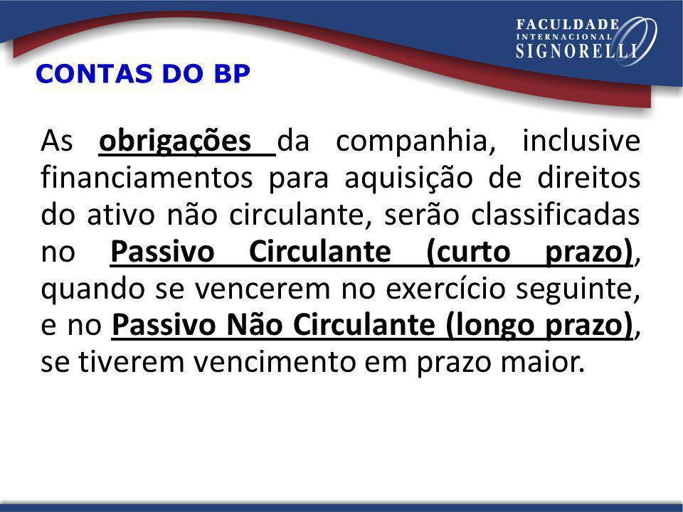 As obrigações da companhia, inclusive financiamentos para aquisição de direitos do ativo não circulante, serão classificadas no Passivo Circulante (cu