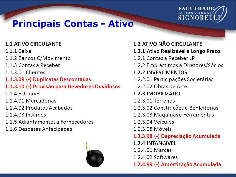 Principais Contas - Ativo 1.1 ATIVO CIRCULANTE 1.1.1 Caixa 1.1.2 Bancos C/Movimento 1.1.3 Contas a Receber 1.1.3.01 Clientes 1.1.3.09 (-) Duplicatas D