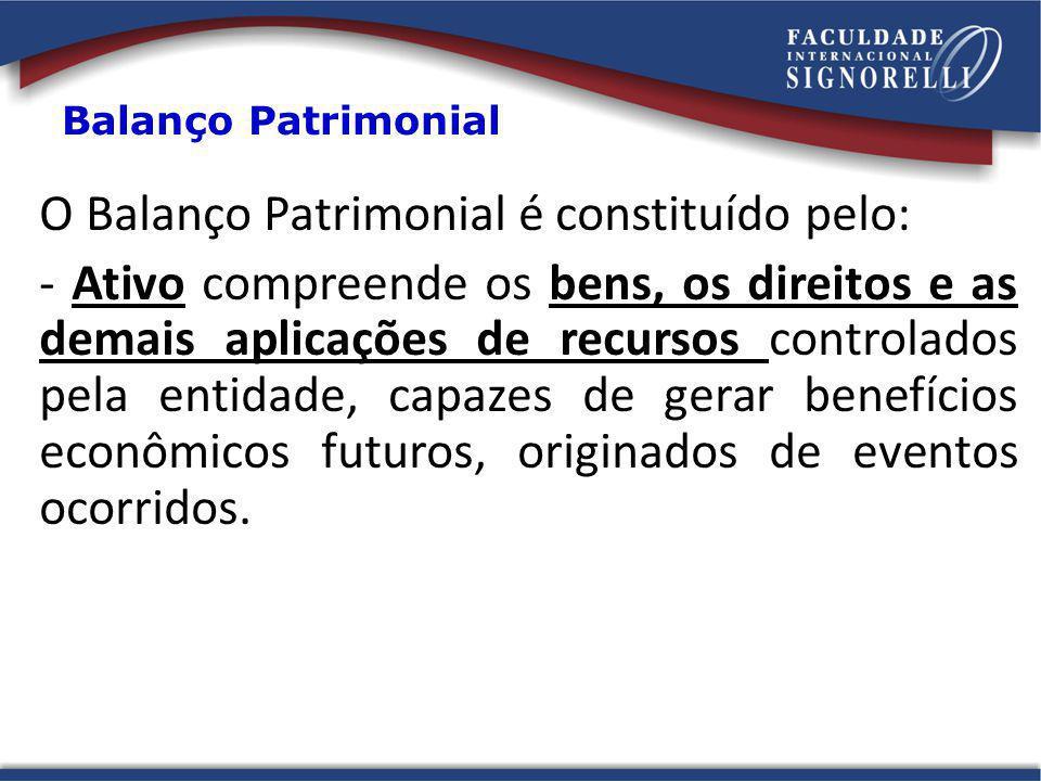 O Balanço Patrimonial é constituído pelo: - Ativo compreende os bens, os direitos e as demais aplicações de recursos controlados pela entidade, capaze