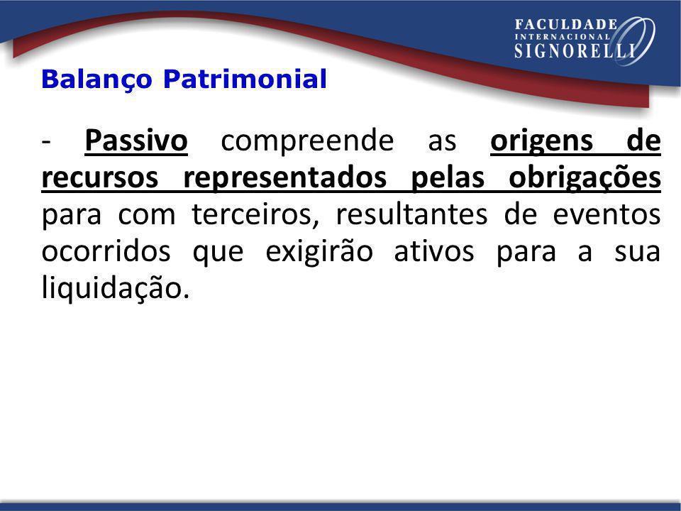- Passivo compreende as origens de recursos representados pelas obrigações para com terceiros, resultantes de eventos ocorridos que exigirão ativos pa