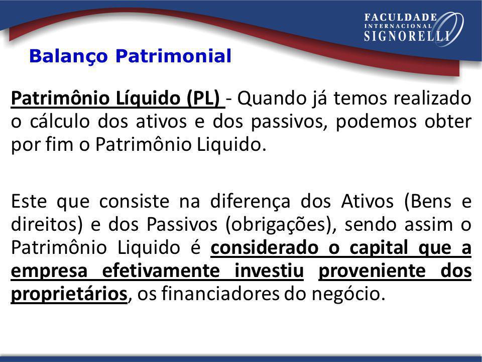 Patrimônio Líquido (PL) - Quando já temos realizado o cálculo dos ativos e dos passivos, podemos obter por fim o Patrimônio Liquido. Este que consiste