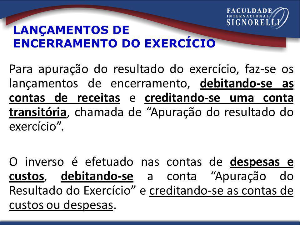 LANÇAMENTOS DE ENCERRAMENTO DO EXERCÍCIO Para apuração do resultado do exercício, faz-se os lançamentos de encerramento, debitando-se as contas de rec