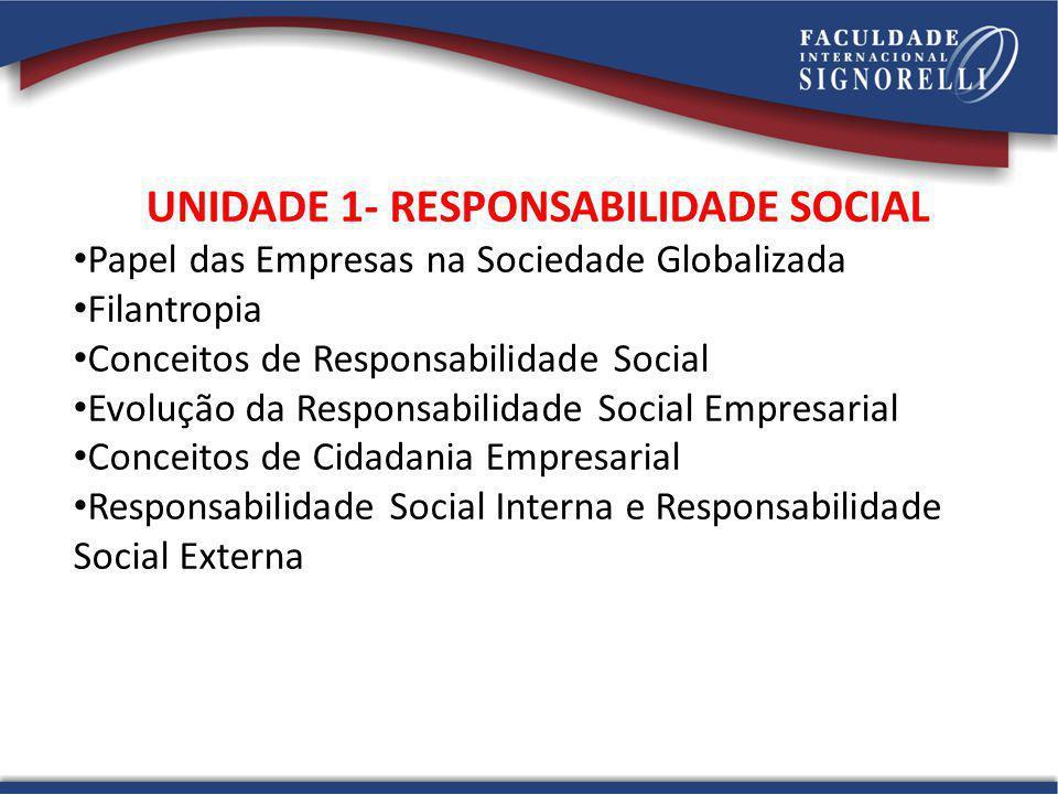 UNIDADE 1- RESPONSABILIDADE SOCIAL Papel das Empresas na Sociedade Globalizada Filantropia Conceitos de Responsabilidade Social Evolução da Responsabi