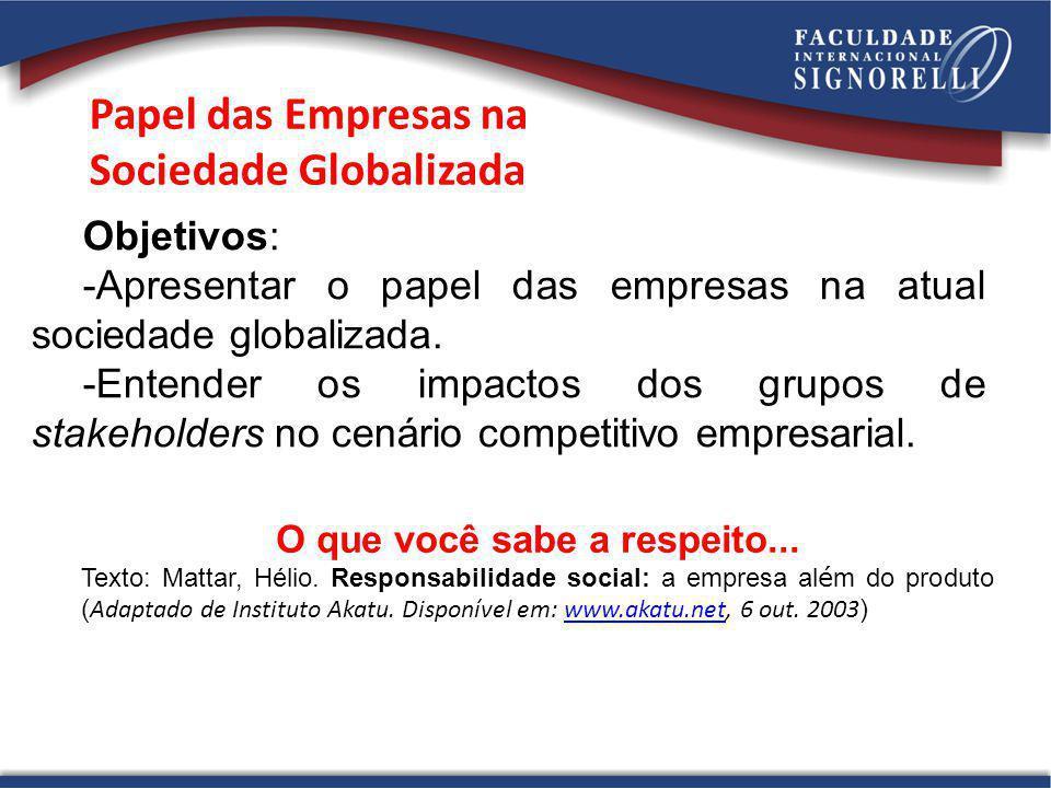 Papel das Empresas na Sociedade Globalizada Objetivos: -Apresentar o papel das empresas na atual sociedade globalizada. -Entender os impactos dos grup