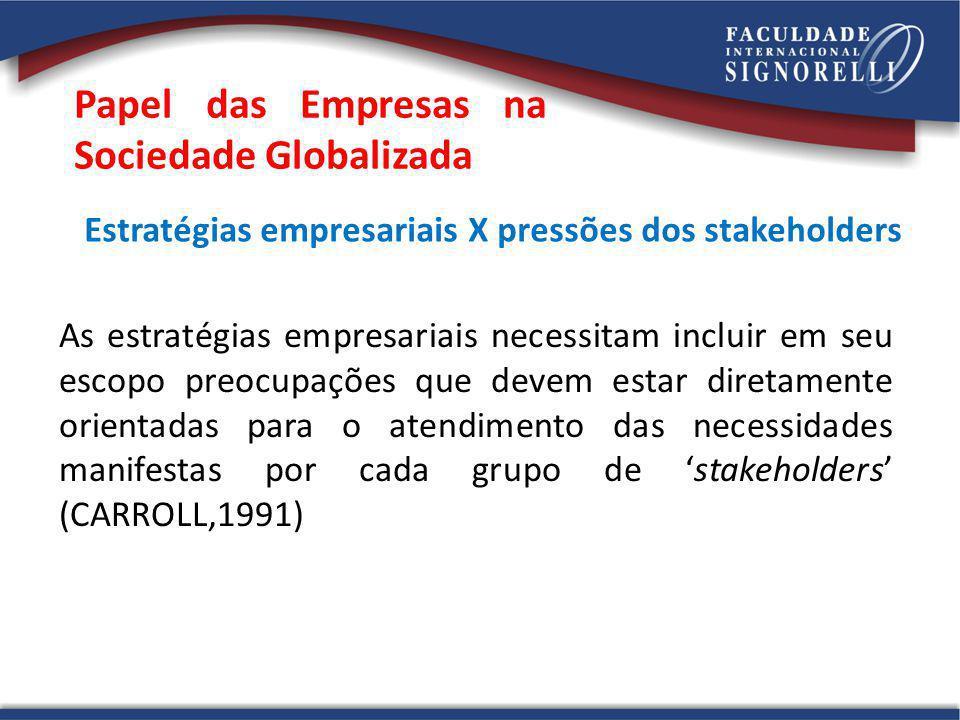 Papel das Empresas na Sociedade Globalizada Estratégias empresariais X pressões dos stakeholders As estratégias empresariais necessitam incluir em seu