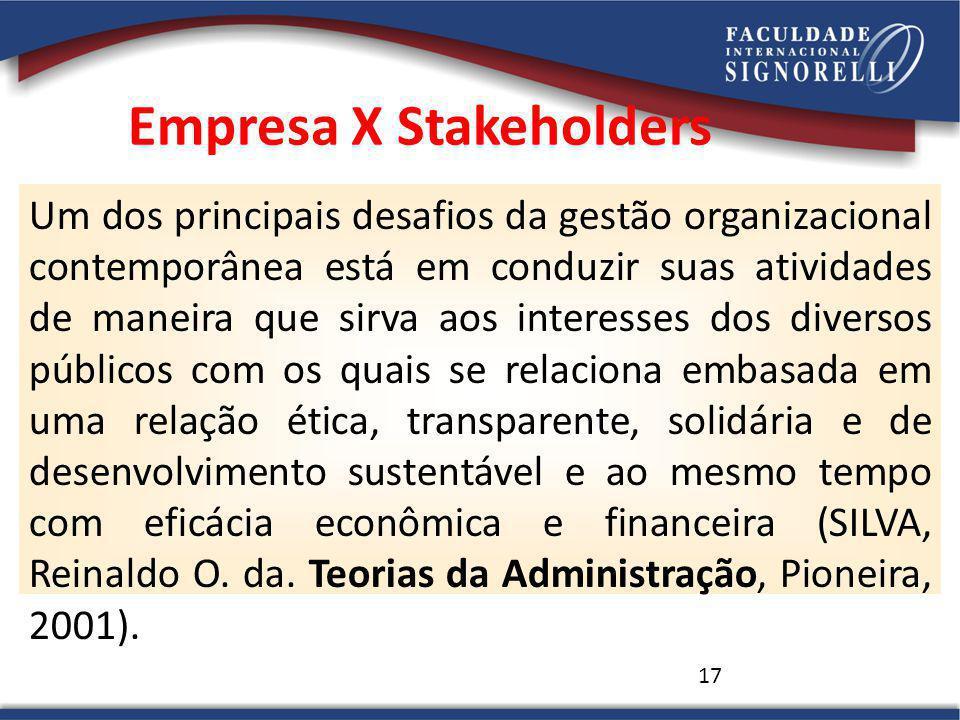17 Um dos principais desafios da gestão organizacional contemporânea está em conduzir suas atividades de maneira que sirva aos interesses dos diversos